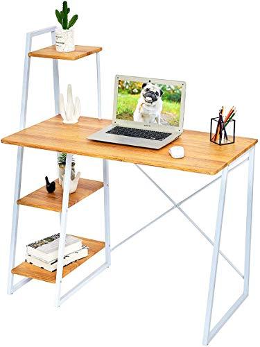 Computadora de escritorio con estantes (100 x 50 cm), Roble Escritorio con estantes de almacenamiento de tabla de la oficina Escritorio del estudio Equipo estación de trabajo Inicio del escritorio de