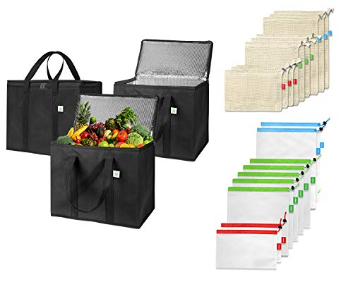 3 Pack Insulated Reusable Grocery Bags With 9 Cotton Produce Bags, 9 Polyester Mesh Bags, Best Value Combination, Durable, Large, Collapsible, Eco-Friendly, One Stop Solution (Black, 21 Mixed Bundle)