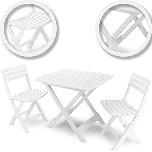 idooka Outdoor Garden Patio Balcony 3 Piece Camping Furniture Set for Two Adults Bistro with Lightweight Folding Collapsible Compact Table 2 Chairs White Grain Wood Effect Polypropylene Plastic