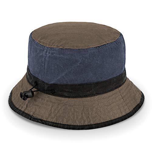 fiebig Sombrero de pescador de algodón lavado, unisex, para exteriores, con cordón, combinación de colores azul marino 60