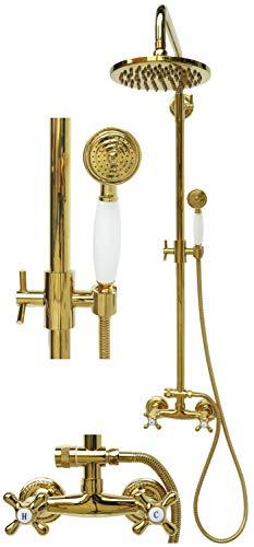 Retro Duschset Duschgarnitur Regendusche Set Brausegarnitur Zweigriff Armatur Duschstange Mischbatterie Duschkopf Gold