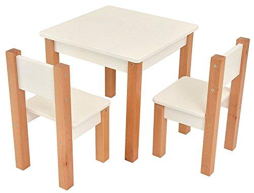 Table d'enfant avec 2 chaises - 3 pièces Set: table d'appoint pour enfants - blanc/naturel - table + 2 chaises/meubles pour enfants pour garçons et filles