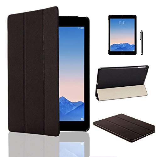MOFRED Ultra Slim New Apple iPad Air 2 (Launched Oct. 2014) Leather Case Cover, Full Protection Smart Cover for iPad Air 2 iPad 6th Generation With Magnetic Auto Wake & Sleep Function + Screen Protector + Stylus Pen (Black)