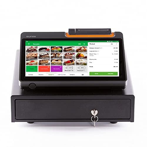 Packs TPV Android 11.6', Marca SUNMI, Modelo T2 Mini, con Impresora integrada + Cajon portamonedas Geon, Software Loyverse Incluido, Restaurantes, Cafeterias, Comercios.