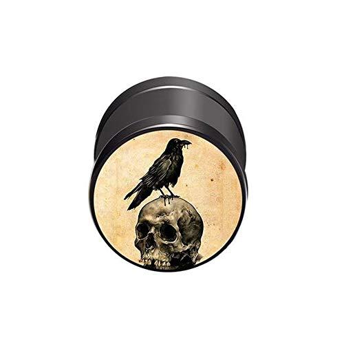 BlackAmazement Piercing falso de acero inoxidable 316L, diseño de cuervo con calavera, 10 mm, color marrón y negro, para hombre y mujer