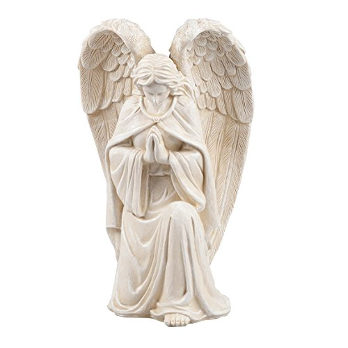 Fox Valley Traders WalterDrake White Resin Angel Statue - Religious Garden Statue Remembrance Memorial Guardian Angel – 16 inch