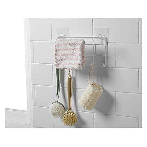 HomeMagic Colgador de Toallas Multifuncional Bastidores Colgantes para Accesorios de Cocina y Baño, Acero Inoxidable Organizador de Utensilios en Cocina con 5 Ganchos (Blanco)