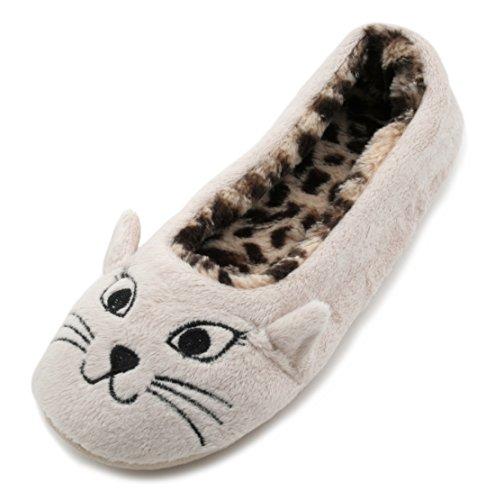 SlumberzzZ zapatillas con cara de gato, para mujer, interior con diseño de Leopardo, Forrado de felpa, color beige, talla 40-41 EU\n