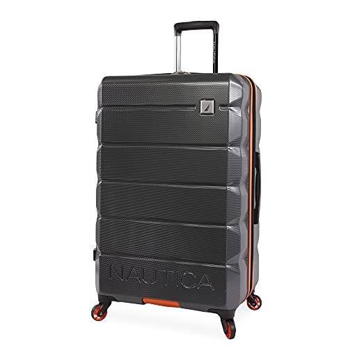 NAUTICA Quest Hartschalen-Koffer, kariert, 73,7 cm, Grau/Orange