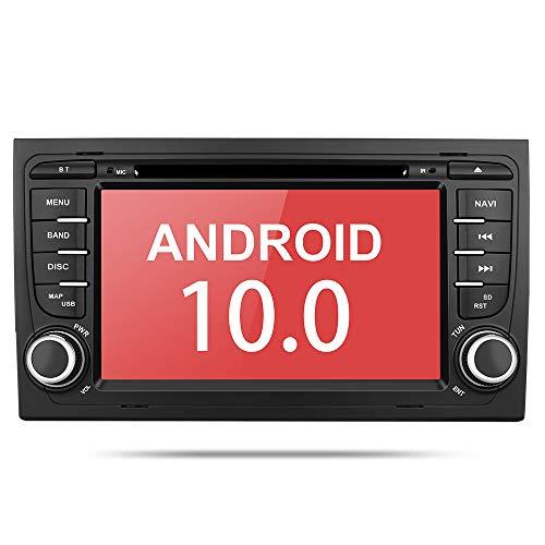 Aumume Android 10.0 Autoradio für Audi A4/S4 mit Navi, Unterstützt Autoplay Mirrorlink Lenkradkontrolle Bluetooth DSP DAB WiFi USB CD DVD (mit 16 GB Karte)