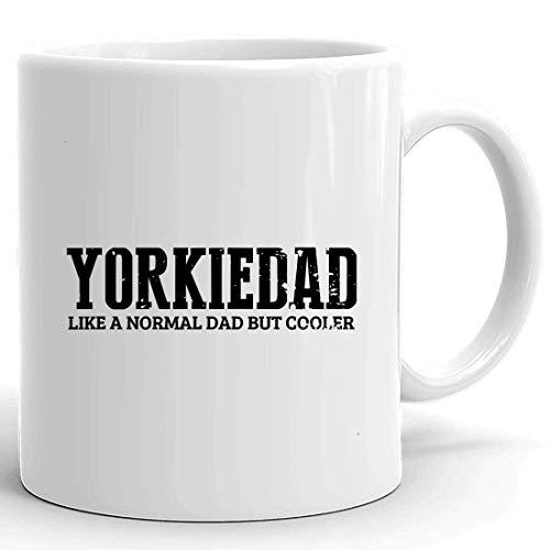 Taza de papá Daddy White Cup Hombres Yorkie Dad Cooler Yorkshire Terrier Daddy Camiseta retro Tazas