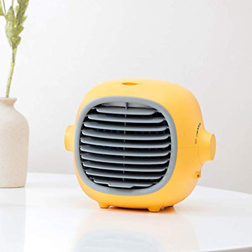 SXXYTCWL Portable air conditioner, USB air cooler, humidifier purifier, desktop cooling fan suitable for office home outdoor jianyou (Color : Yellow)