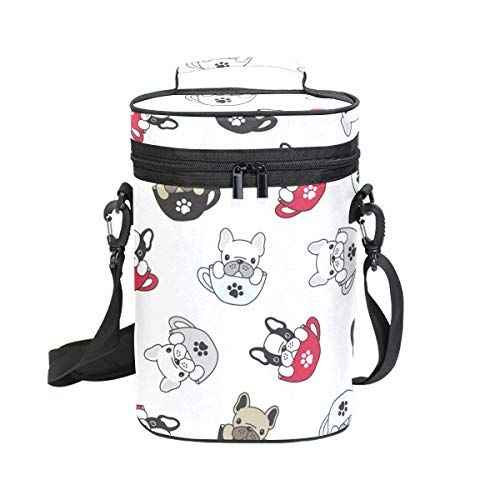 VIKKO Dog French Bulldog Pug Paw Cup Insulated Wine Carrier - 2 Bottle Wine Cooler Tote Bag with Handle and Adjustable Shoulder Strap, Great for Travel, Party, Dinner