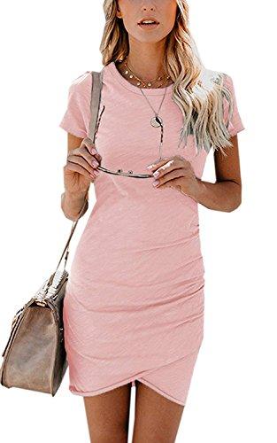 Minetom Damen Enges Kleid Sommerkleid Rundhals Kurzarm Kleid Bodycon Unregelmäßig Minikleid Abendkleid Ballkleid Sexy Einfarbig Cocktailkleid C Rosa DE 36