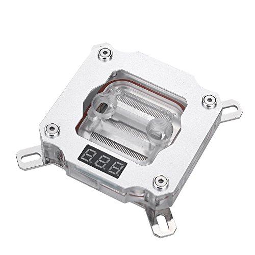 Richer-R PC CPU Wasserkühlung Block, Computer CPU Wasserkühlung Block Waterblock mit Temperaturanzeige,Kupfer Anode Aluminium CPU Wasserkühlblock für Intel