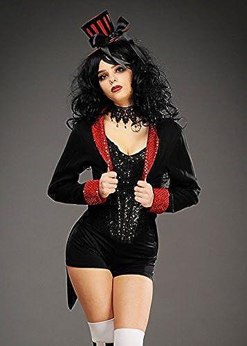 Magic Box mujer gótico Burlesque negro Sequin Trim Tailcoat