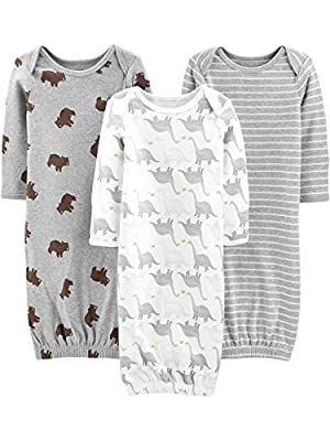 Simple Joys by Carter's Baby 3-Pack Neutral Cotton Sleeper Gown, Bear/Stripe/Dino, Newborn by Carter's Simple Joys -Private Label -Vendor Flex CRI
