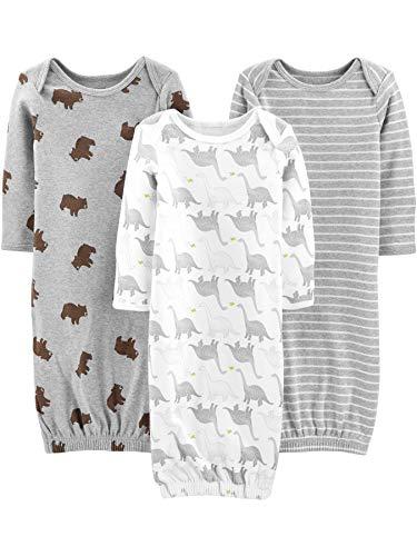 Simple Joys by Carter's Chemises de Nuit en Coton Neutre, Ours/Rayures/Dino, US Nouveau-né, Lot de 3