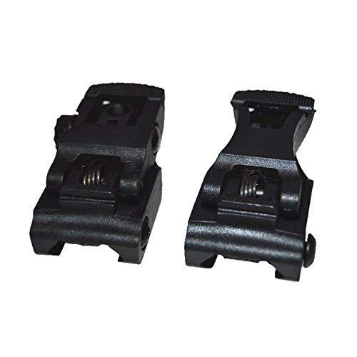 HWZ New Tactical Low Profile Flip up Sight Set Rear Front Sight Mount Transition Backup Black