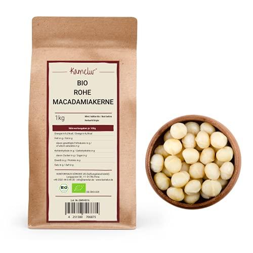 Kamelur 1kg BIO Macadamianüsse in Rohkostqualität - ganze Macadamia Nüsse ohne Schale der Klasse 1L, roh und unbehandelt