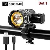 Nologo - Juego de luces de bicicleta impermeable T6 USB recargable con batería ajustable con zoom ajustable para bicicleta, faro delantero y luz de advertencia, 5000 mAh Set 1.
