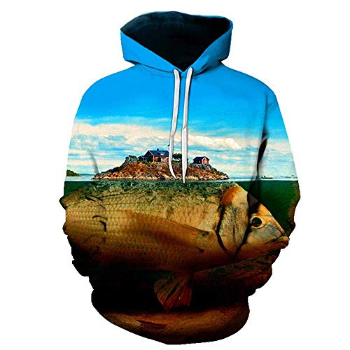 yyqx container Pulls Hoodies d'impression 3D Carp Print Outdoor Couples Sweatshirts with Kangaroo Pocket-Color_XL