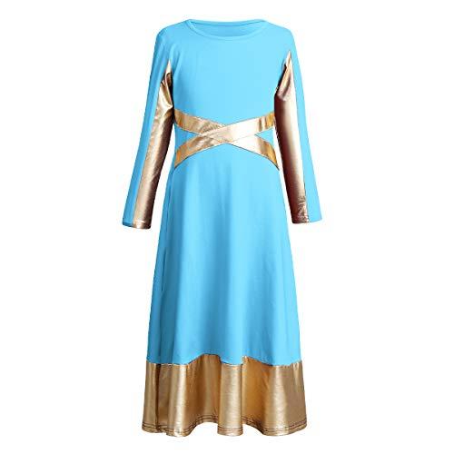 OBEEII Vestido Liturgico Danza Alabanza Vestido Maillot Leotardo Gimnasia Disfraz de Baile Clásica Combinación para Bautizo Danza Iglesia Ceremonia Casual para Niñas Azul 3-4 Años