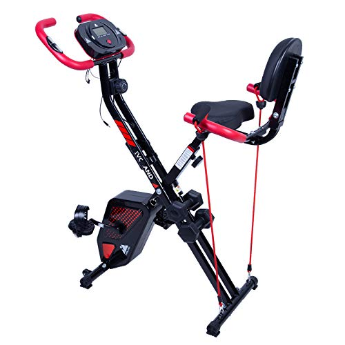 Exercise Bike, with Pulse Sensors and 2 Dumbbells, Foldable Indoor Trainer for Home Use