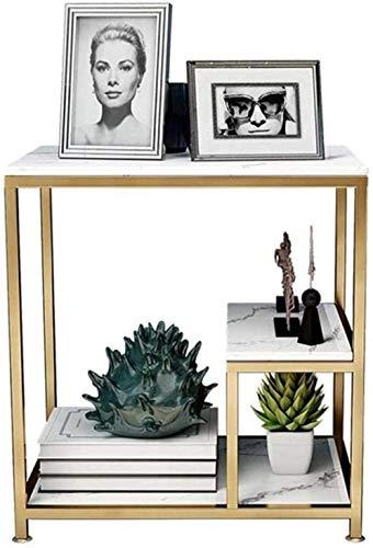 HTL Mueble lateral de sofá para mesas de noche, mesa de borde de mármol, mesa de mesa de té de hierro de hierro,De mármol de oro