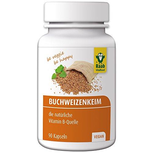 Raab Vitalfood Buchweizenkeim-Kapseln, gekeimt, laborgeprüft, vegan, glutenfrei, 90 Stück, Nahrungsergänzung mit Vitamin-B-Komplex, Buchweizen-Pulver, hergestellt in Deutschland, 1er Pack (54 g)