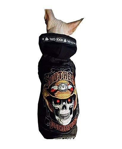 Khemn Totenkopf, für Haustiere, warm, Kleidung für Haustiere, Mantel Pullover Hoodie für Katze & Hund mit fleece-best für Katzen hairless Sphinx Katze