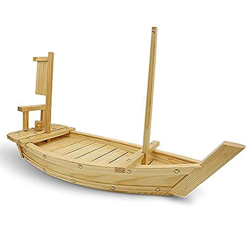 YBSY Barco de bambú Natural con Bandeja para Sushi, Plato de Madera para Servir Sashimi Desmontable, 90 cm