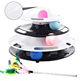 Pecute Katzenspielzeug Katze Bälle Trackball mit 360°raumdrehendem Bahn SpielzeugBälle Cool leuchtender GlockenBälle Katzenminze Bälle Katzenangel Maus(Schwarz-Weiss)