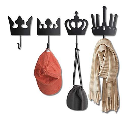 Retrome Crown Coat Hooks Wall Mounted - Set of 4 Large Decorative Heavy Duty Coat Rack Wall Mounted - Metal Hanging Hook Rack for Entryway, Hallway, Bedroom, Cubicle - Matte Black