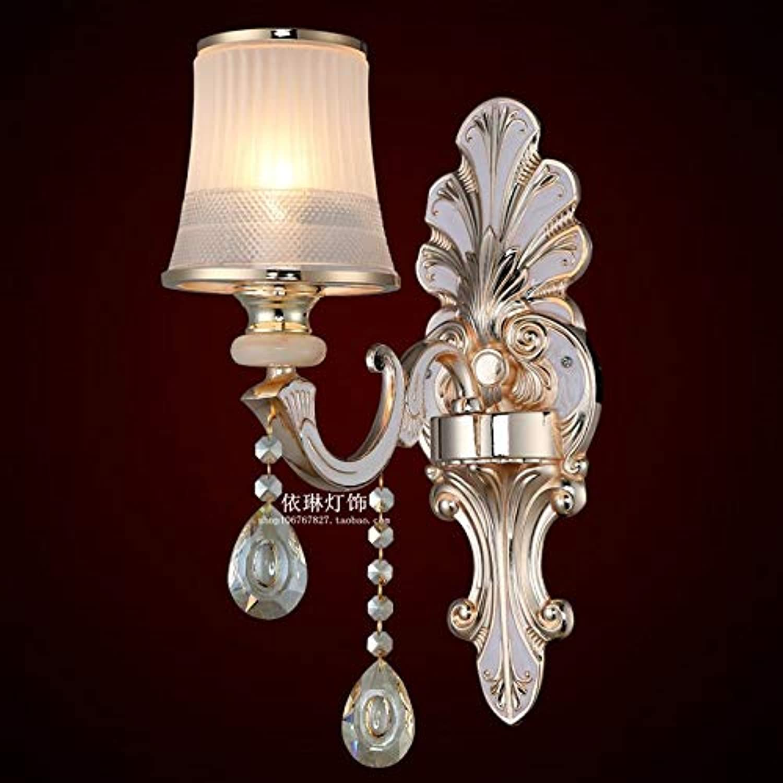 AGECC 110-230V Wandleuchte Lampe für den Innenbereich Kristall Wandlampe Zinklegierung Doppelkopf Einzelkopf Wohnzimmer Hintergrund Wandlampe Schlafzimmer Nacht Glas Wandlampe, F