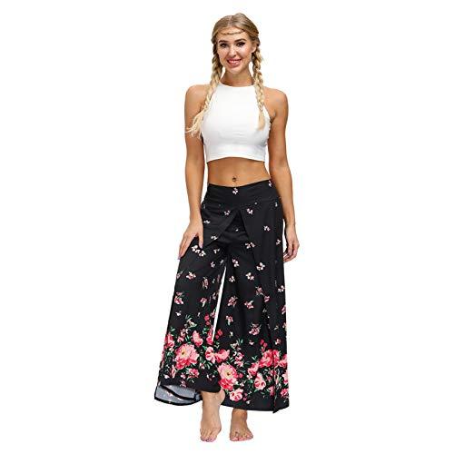 LLYA Pantalones de Yoga Sueltos de Mujer Estilo étnico Impresión Digital Fitness Pantalones de Yoga divididos Pantalones de Pierna Ancha Sexy,Yea047,L/XL