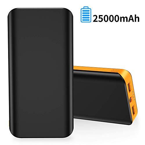 FKANT Powerbank 25000mAh, Handy Externer Akku mit 2 USB-Ausgängen Schnellladung 4 LED-Licht Taschenlampe Automatische Erkennungstechnologie Tragbares Ladegerät für iPhone iPad Samsung Huawei usw