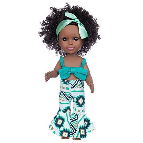 Nice2you Schwarze Puppen Mode afrikanische Mädchenpuppen Spielen Puppe 14 Zoll für Kinder