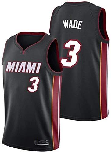 Dll Los Hombres de Baloncesto Jersey-Dwayne Wade- Miami Heat # 3 Jersey, Ropa de Deporte, Unisex Camiseta sin Mangas Bordado de Malla de Baloncesto Swingman Jersey (Color : Black-3, Size : S)