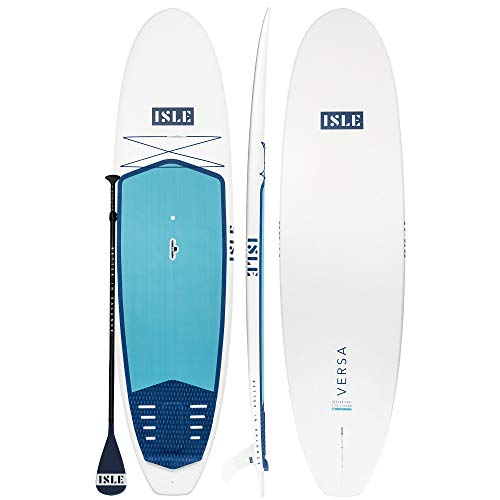 "ISLE Versa Rigid Stand Up Paddle Board & SUP Bundle Accessory Pack — Rigid Board with Lightweight Foam Core — 300 Pound Capacity, 10'5"" or 11'2' Long x 32' Wide x 4.5"" Thick (Retro, 10'5')"