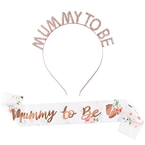 1Set 2 Stk Baby Shower Schärpe Mummy To Be Schärpe mit Krone Baby Shower Partydeko Babydusche Haarschmuck Schwangerschaft Dekoration für Schwangere Werdende Mutter Geschenk Babyparty Deko Rosagold