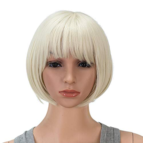 SWACC 10 Inch Short Straight Bob Wig with Bangs Synthetic Colorful Cosplay Daily Party Flapper Wig for Women and Kids with Wig Cap (Platinum Blonde)
