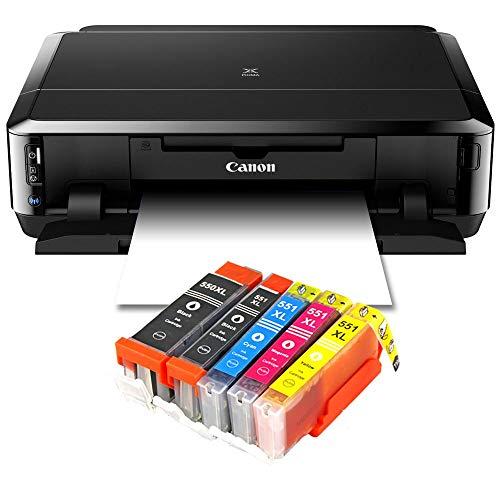 Canon Pixma iP7250 Tintenstrahldrucker mit WLAN, Fotodrucker und CD-Bedruck, Auto Duplex Druck + USB Kabel + 5er Set IC-Office XL Tintenpatronen