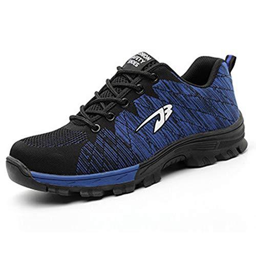 ZOSYNS - Zapatos de Protección Unisex Para Hombre Antideslizantes Transpirables Zapatos de Trabajo Deportivos de Seguridad Puntera de Acero Suela de Acero Transpirables Talla 35-48 Azul Talla 48 EU