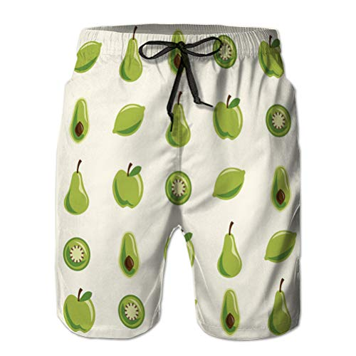 Troncos de natación de Verano para Hombre Pantalones Cortos de Playa de Tabla de Secado rápido con Estampado de Frutas