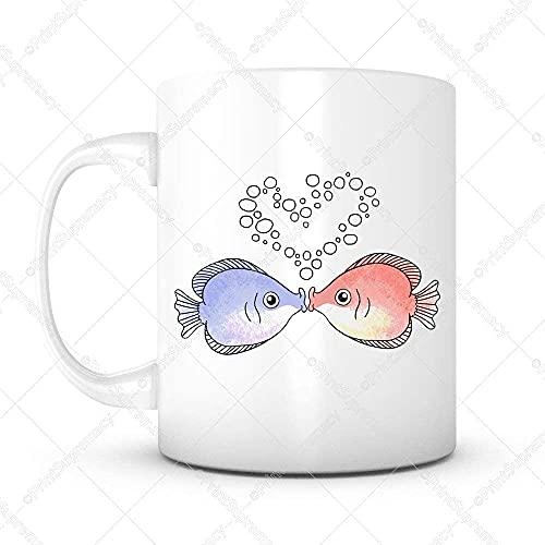 Keyboard cover Taza de café de cerámica blanca con diseño de beso y peces