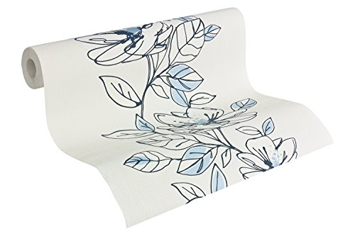 Brigitte Home Vliestapete Tapete floral 10,05 m x 0,53 m blau metallic weiß Made in Germany 941721 94172-1