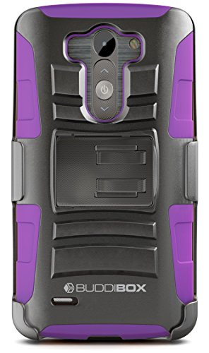 LG G3 Case, BUDDIBOX [HSeries] Heavy Duty Swivel Belt Clip Holster with Kickstand Maximal Protection Case for LG G3, (Purple)