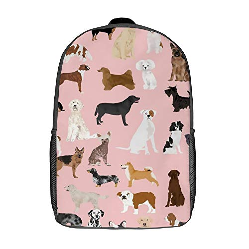 17 Inch Durable Backpacks for Women and Man Best Dog Breed Pattern Fashion Computer Bag for Cycling Outdoors