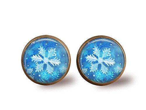 Antik Schneeflocke Ohrstecker, Glas Dome Art Ohrringe, Frozen snokflake, Bronze Ohrringe, Cabochon aus Glas,